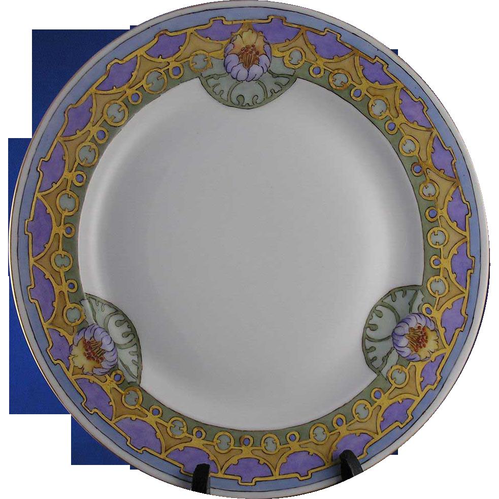 "Vignaud Limoges Art Deco Floral Motif Plate (Signed ""D. Howland""/c.1911-1938)"