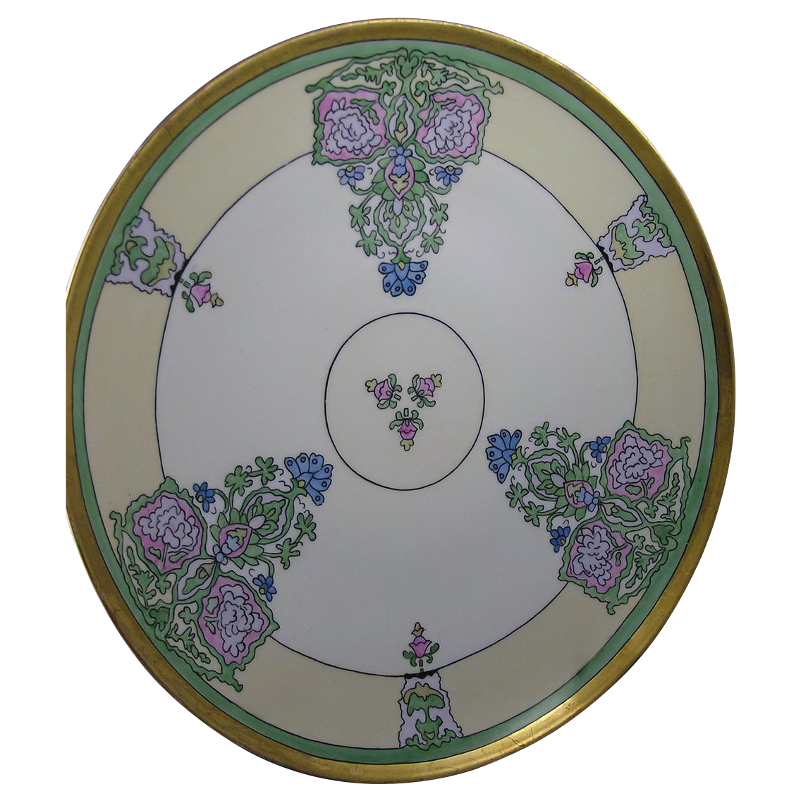 "HUGE T&V Limoges Arts & Crafts Floral Motif Charger (Signed ""KM""/Dated 1921)"