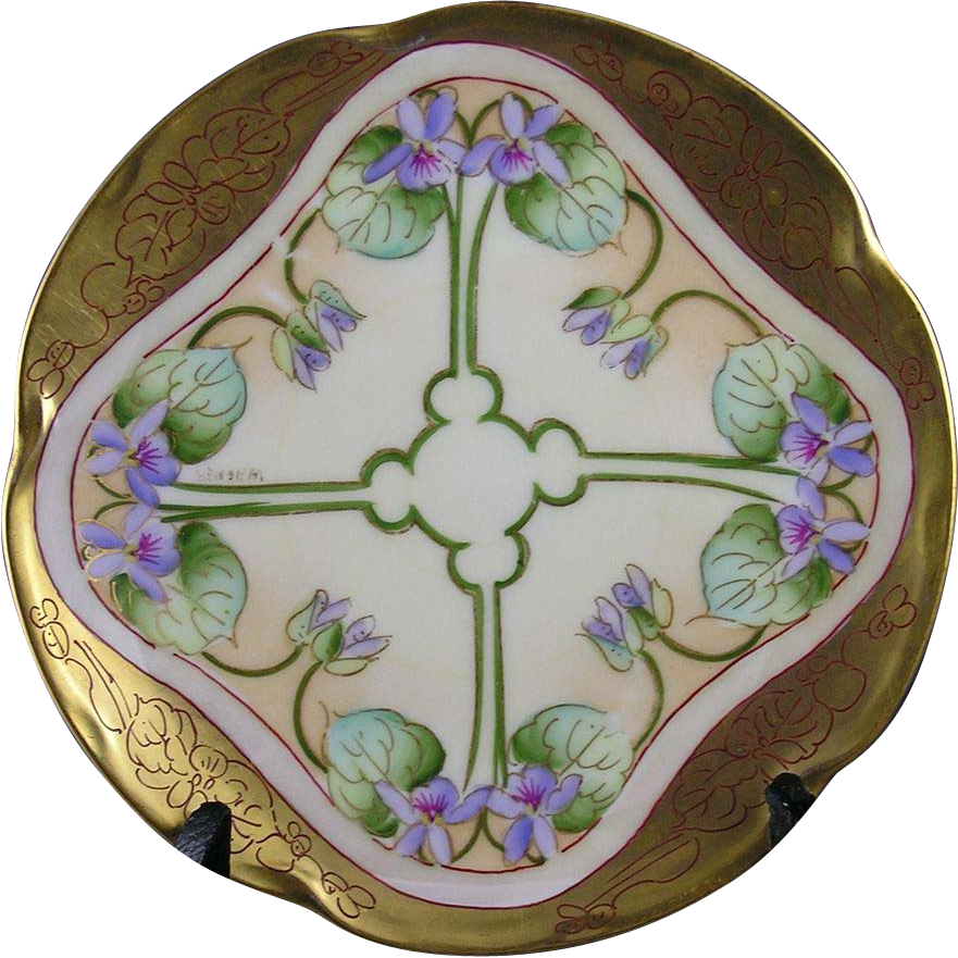 "Pickard Studios Violet Plate (Signed ""Wagner"" for Albert H. Wagner/c.1905-1910)"