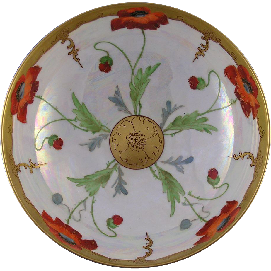 "Haviland Limoges Pickard Poppy Design Centerpiece Bowl (Signed ""Keates"" for Alfred  Keates/c.1905-1910)"