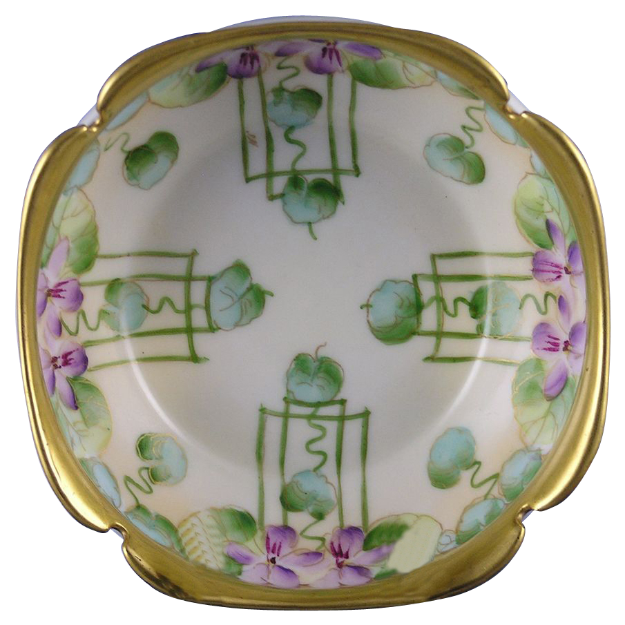 "T&V Limoges Pickard Studios ""Violets In Panel"" Design Bowl (Signed ""A.W."" for Albert H. Wagner/c.1905-1910)"