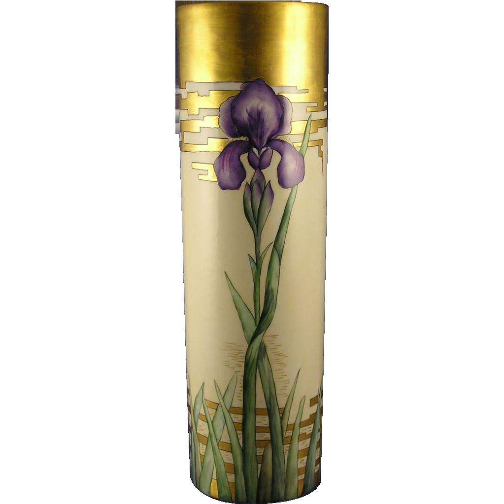 William Guerin & Co. (WG&Co) Limoges Arts & Crafts Iris Motif Vase (c.1900-1932)