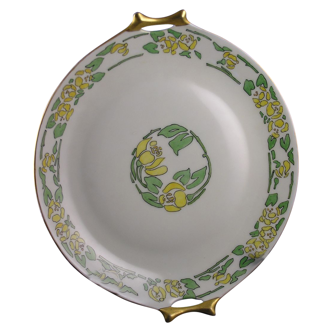 "Hutschenreuther Bavaria Arts & Crafts Floral Motif Handled Plate (Signed ""J. Ellsworth""/c.1910-1920)"