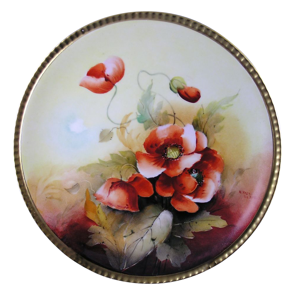 "Coiffe Limoges Donath Studio Poppy Motif Plate (Signed ""M. Rost LeRoy""/c.1906-1928)"