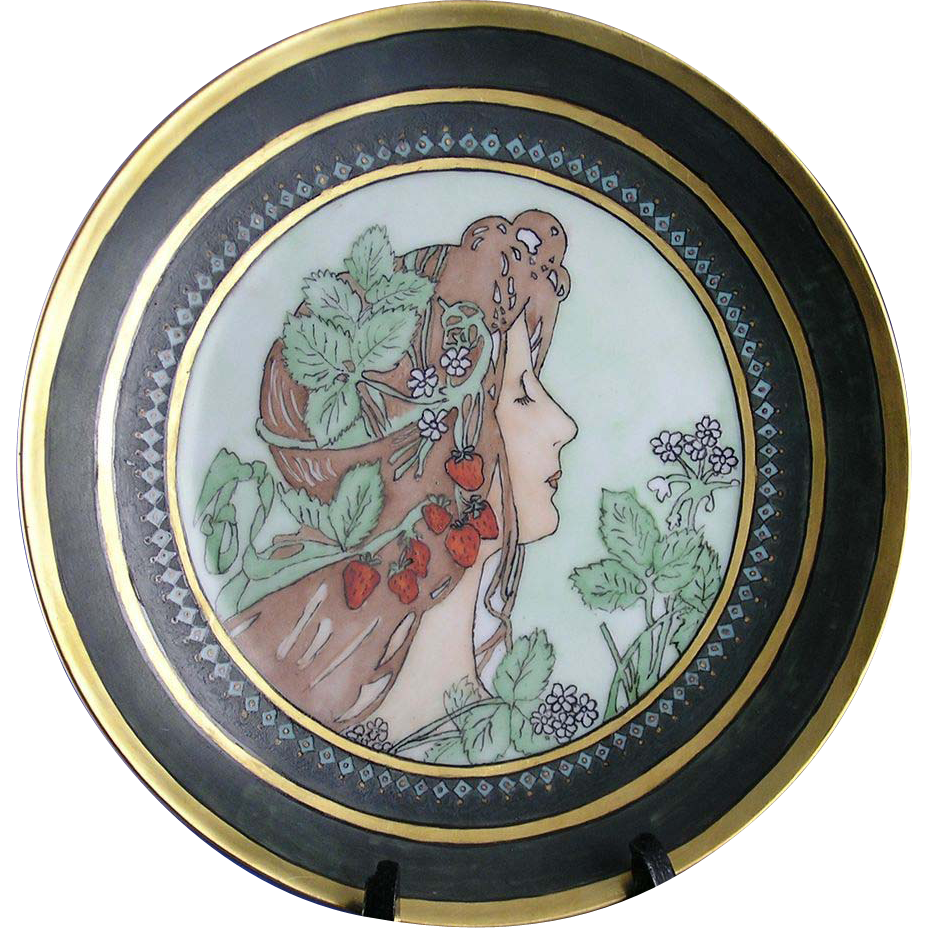 "Thomas Bavaria Arts & Crafts ""Privat Livemont Strawberry Woman"" Motif Plate (Signed ""Christine""/c.1908-1930)"