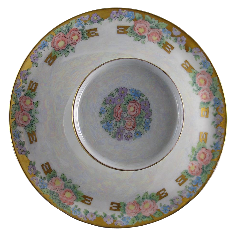 "RS Prussia Tillowitz Silesia Arts & Crafts Floral Motif Tiered Caviar Serving Plate/Dish (Signed ""A.B. Elliff""/Dated 1926) - Keramic Studio Design"