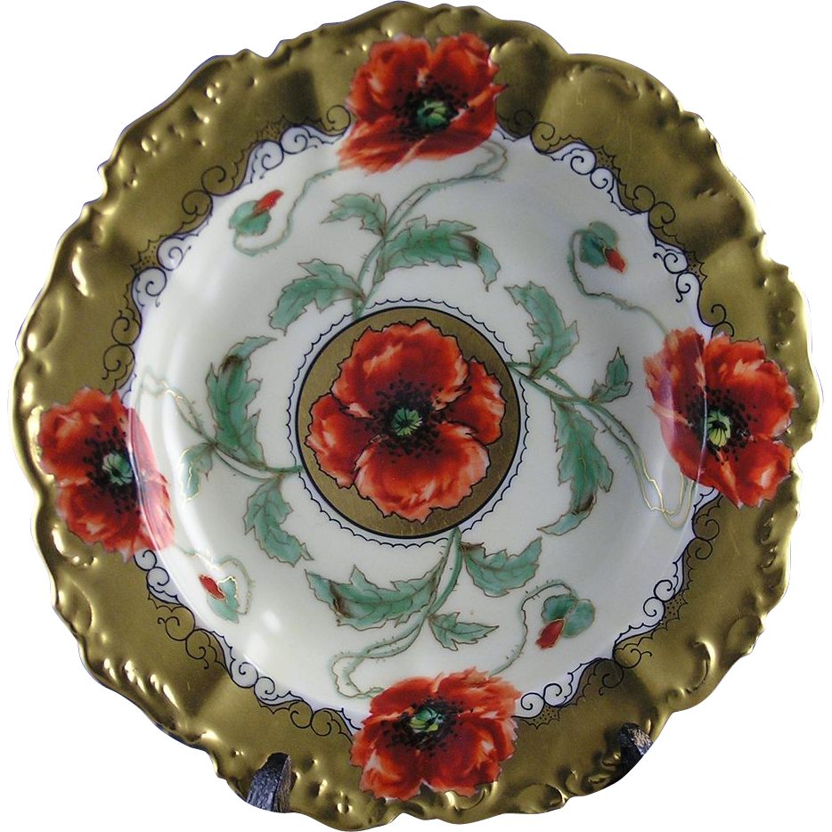 "T&V Limoges Pickard Studios Poppy Design Dish/Bowl (Signed ""Loh"" for John Loh/c.1905-1910)"