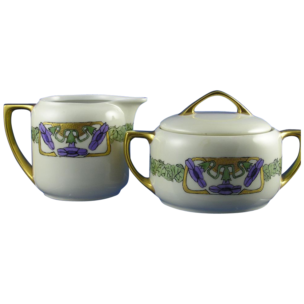 Moritz Zdekauer (MZ) Austria Arts & Crafts Morning Glory Motif Creamer & Sugar (c.1984-1909)