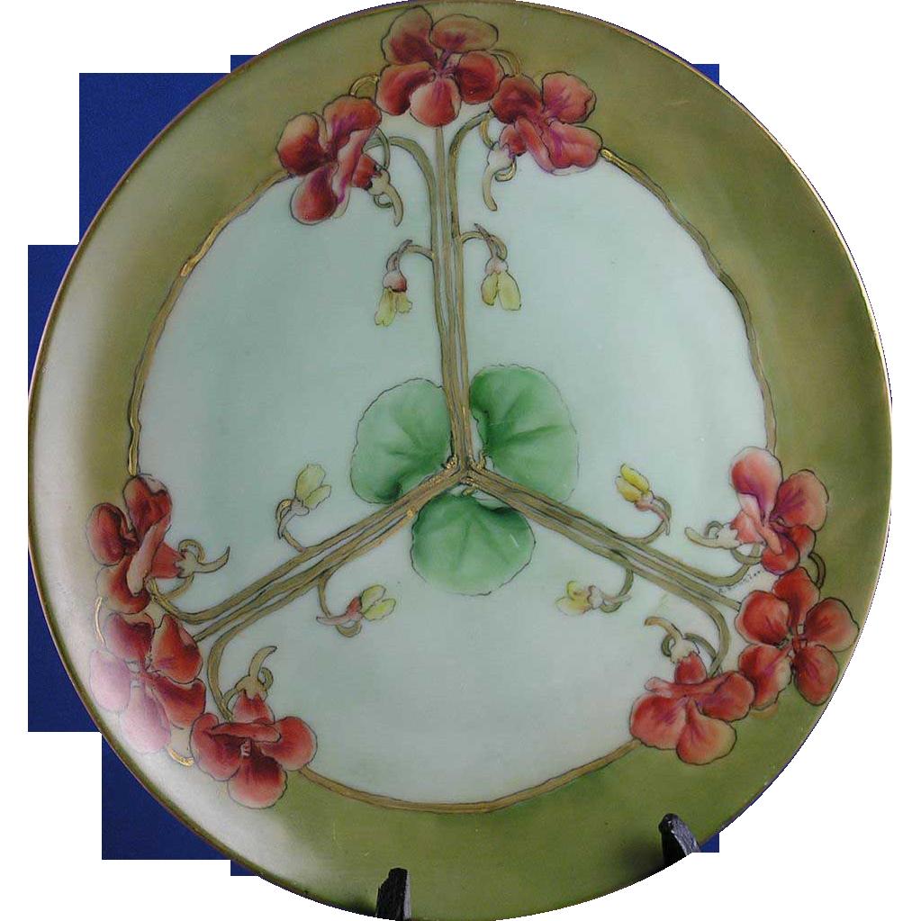 "Thomas Bavaria Arts & Crafts Nasturtium Motif Plate/Charger (Signed ""A. Runzler""/c.1908-1930)"