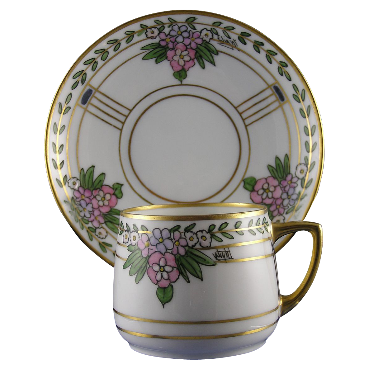 "Hermann Ohme Silesia Pickard Studios Demitasse Cup & Saucer (Signed ""Wight""/c.1905-1910)"