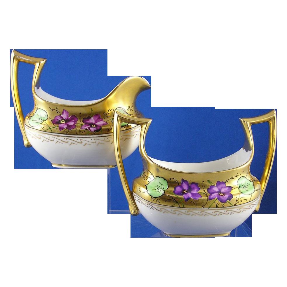 """Favorite Bavaria Stouffer Studios Violet Design Creamer & Sugar Set (Signed """"WS"""" for W. Stens/c.1906-1914)"""