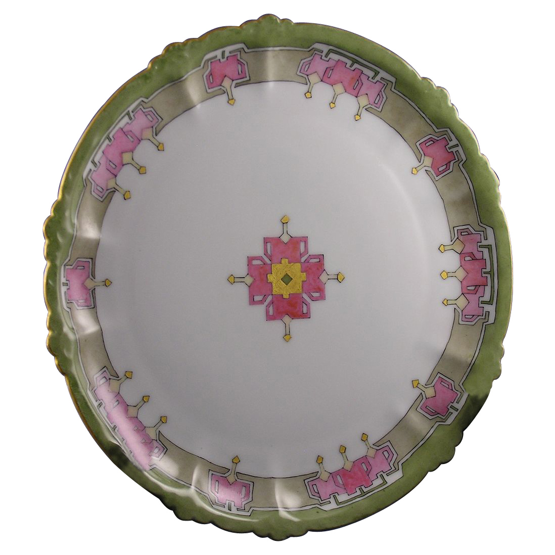 "Rosenthal Bavaria Arts & Crafts ""Bleeding Heart"" Design Plate (Signed ""F. Bott.""/Dated 1913)"