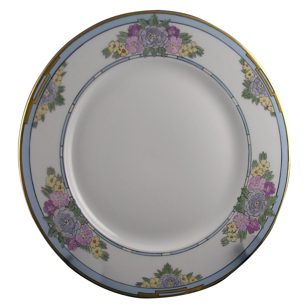 "Charles Ahrenfeldt (CA) Limoges Blue Floral Plate (Signed ""FE Newman""/c.1894-1930)"