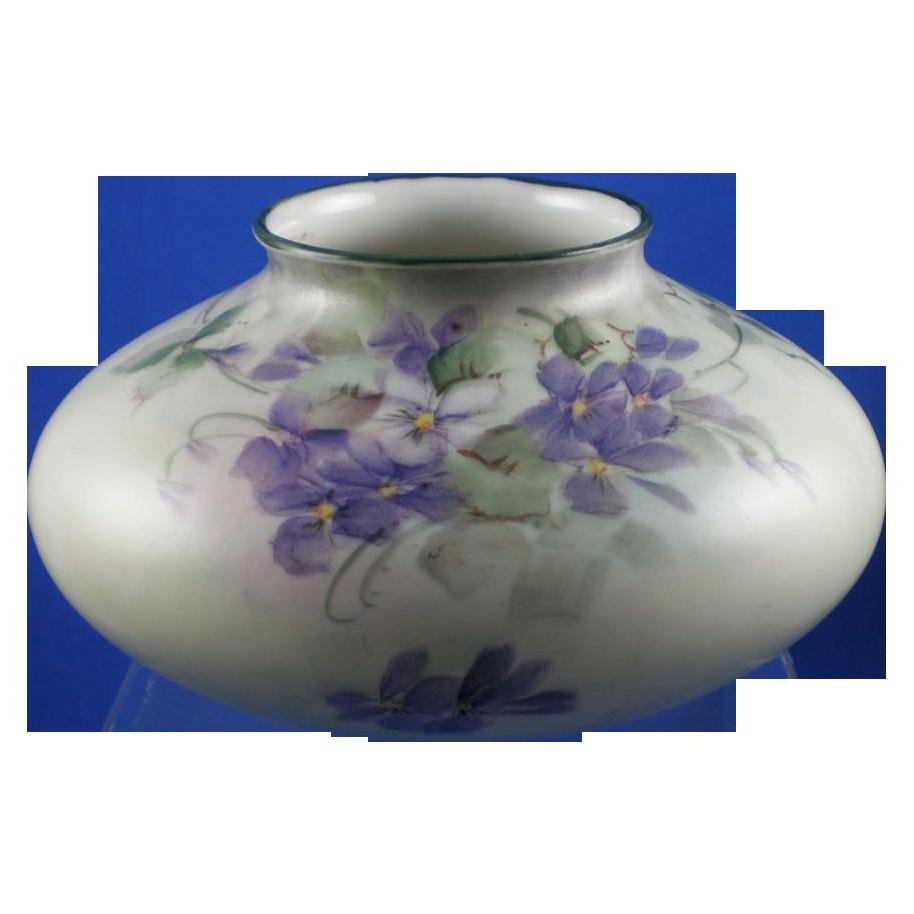 """Count Thun Porcelain Factory (TK) Czechoslovakia Violet Motif Squat Vase (Signed """"Mabel""""/c.1918-1939)"""