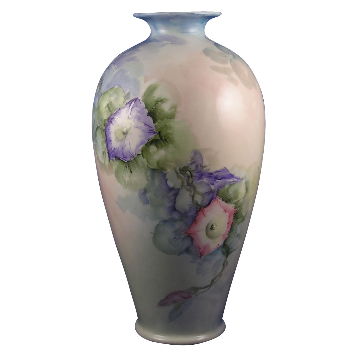 Large Lenox Belleek Morning Glory Motif Vase (c.1906-1924)
