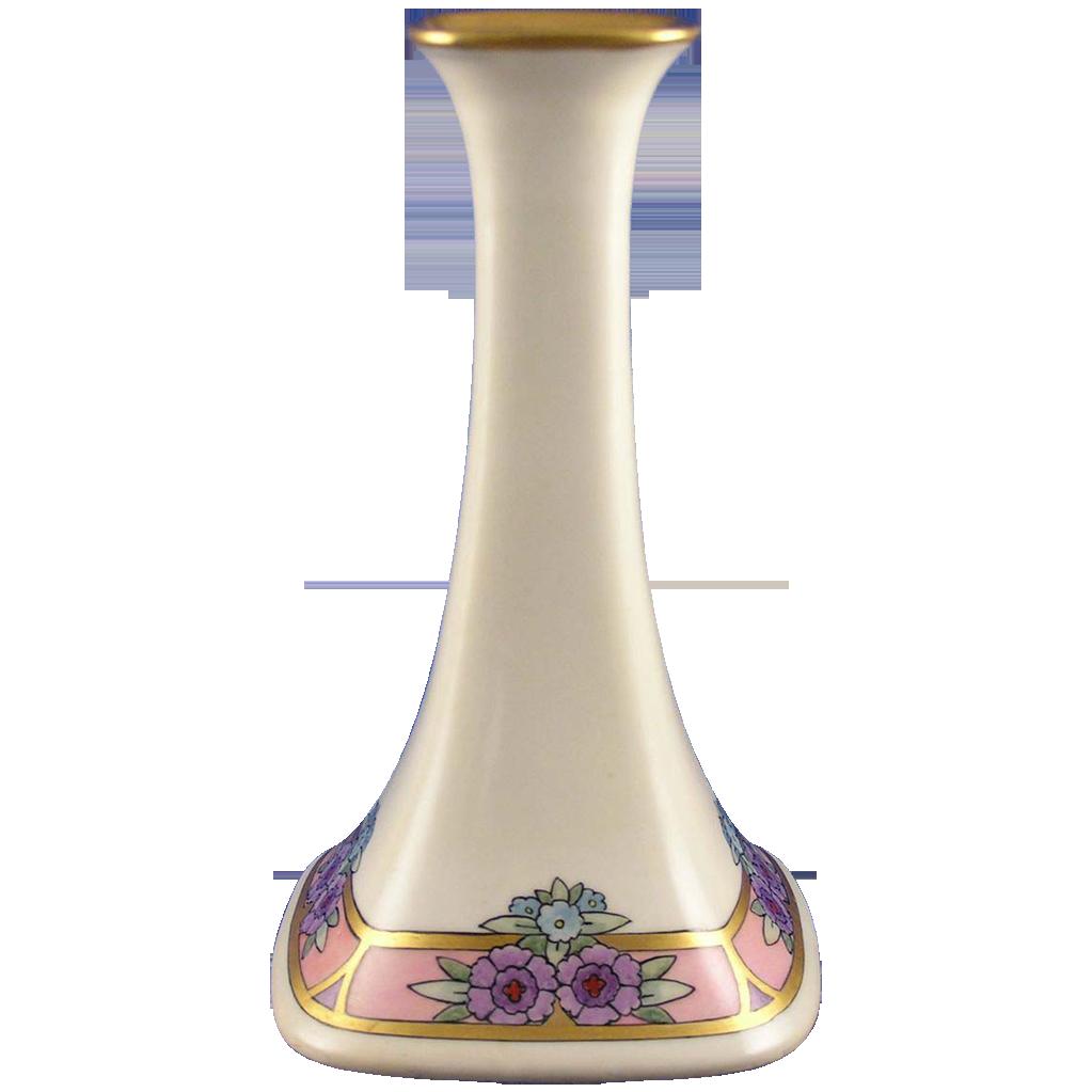 """Porcelain Limousine (PL) Limoges Arts & Crafts Floral Motif Candlestick (Signed """"R. Downen""""/c.1905-1930)"""
