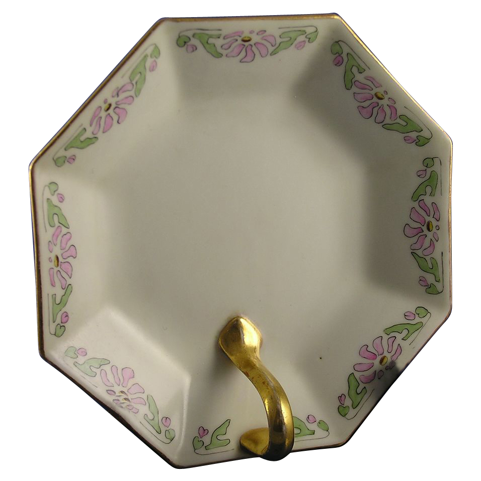 "Limoges 'Mark 6' Art Deco Floral Design Lemon Server (Signed ""E.F.W.""/c.1891-1920)"