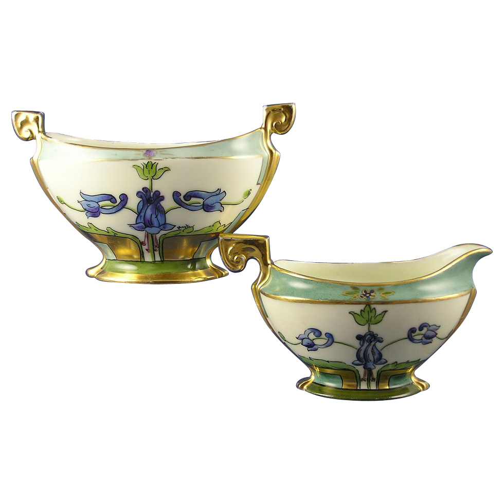 "Charles Martin Limoges White's Art Company Chicago Floral Motif Creamer & Sugar (Signed ""Mark"" & ""P.D.""/c.1914-1923)"