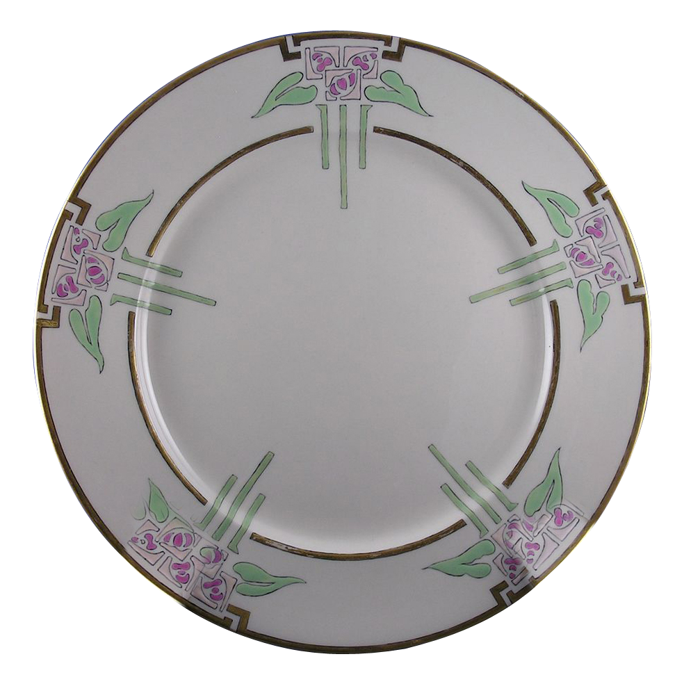 "Lenox Belleek Arts & Crafts Floral Motif Plate (Signed ""N.L.H.""/Dated 1917)"