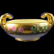 """Stouffer Studios Austrian Blank Clover Motif Handled Bowl (Signed """"W. Sten""""/c.1906-1914)"""