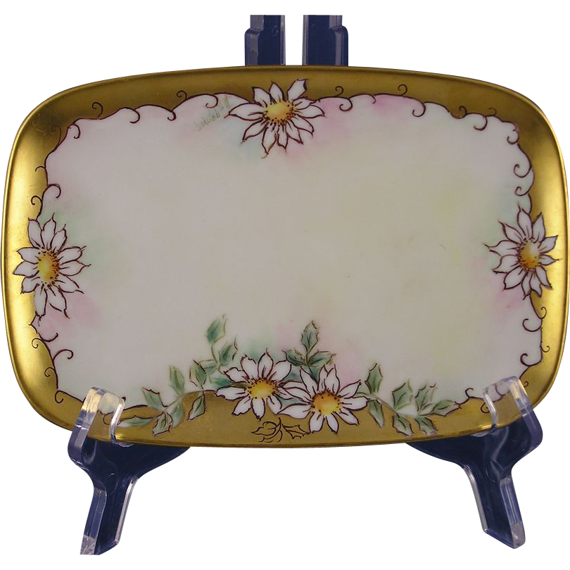 "Limoges Porcelain Blank Daisy Motif Card Holder/Trinket Tray (Signed ""D. Harmon""/c.1892-1907)"