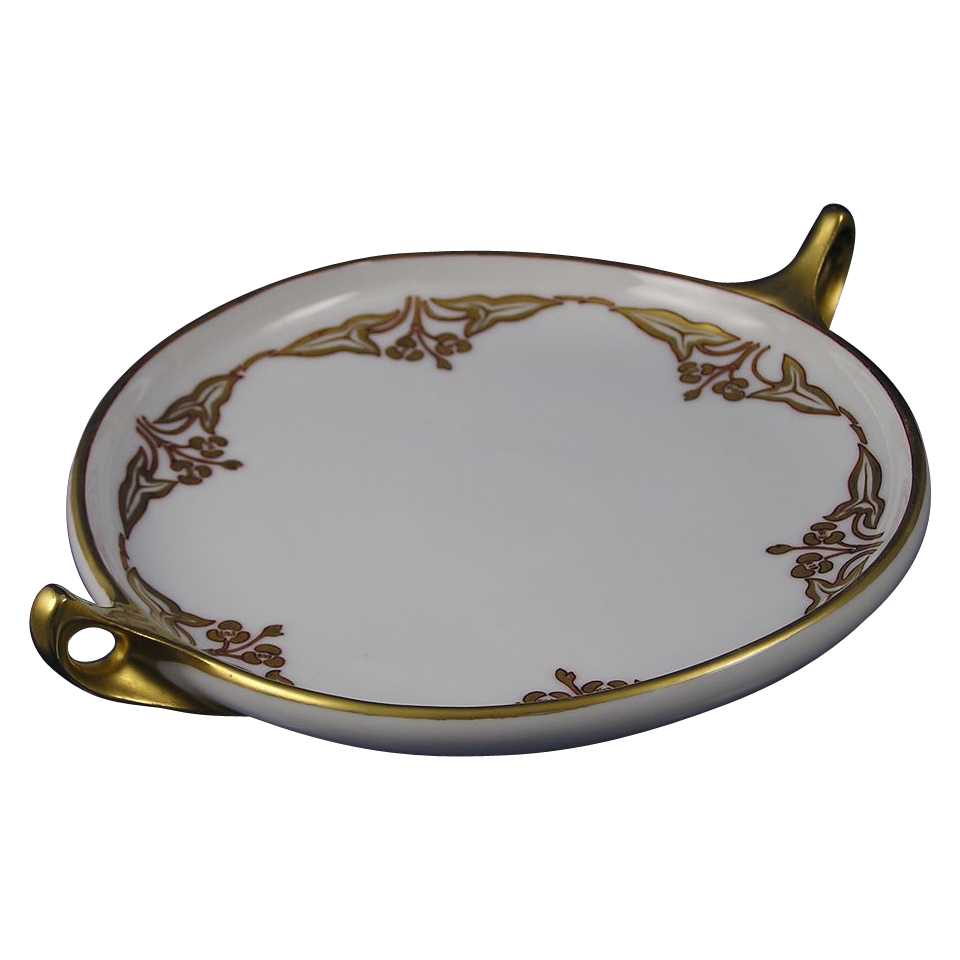 "Rosenthal Donatello Bavaria Arts & Crafts ""Sagittaria Design"" Handled Serving Plate/Dish (Signed ""C. Blesch""/Dated 1907)"