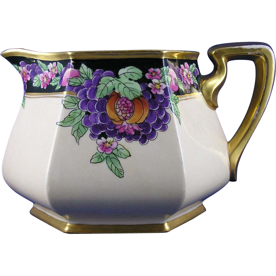"Bernardaud & Co. (B&Co.) Limoges Pickard Studios ""Purple Grapes & Pomegranates"" Pattern Pitcher (Signed ""Rean"" for Maxwell Rean Klipphahn/c.1918-1919)"