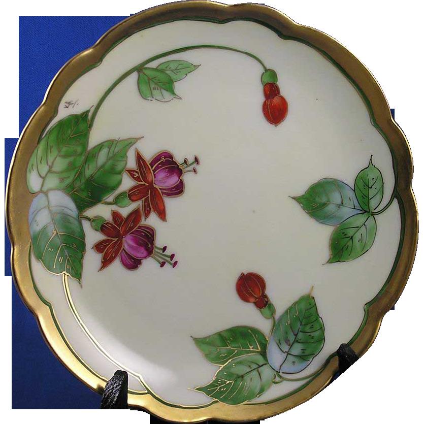 """Rosenthal Bavaria E.W. Donath Studio Fuchsia Motif Plate (Signed """"Kitt"""" for Joseph R. Kitler/c.1906-1928)"""