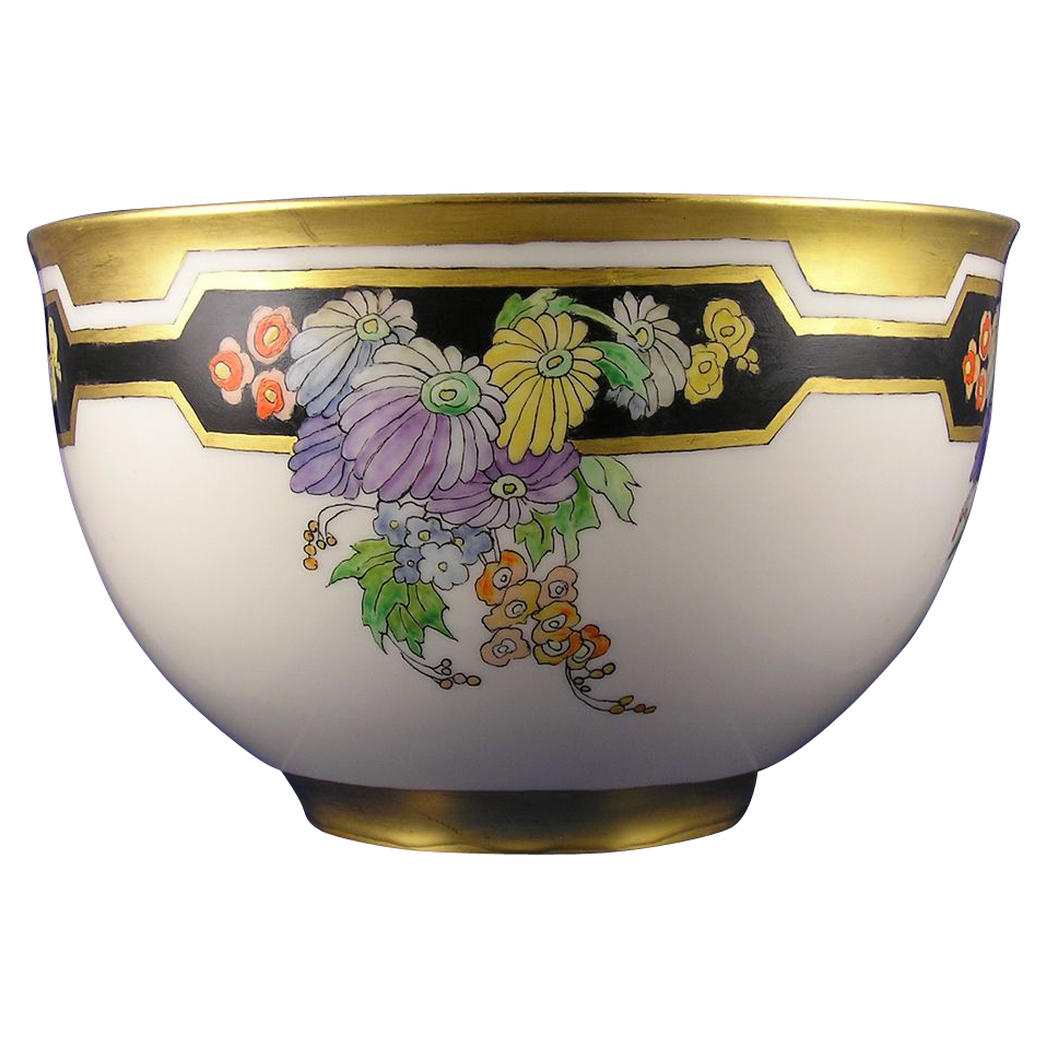 Lenox Belleek Enameled Art Deco Floral Motif Centerpiece Bowl (c. 1906-1924)