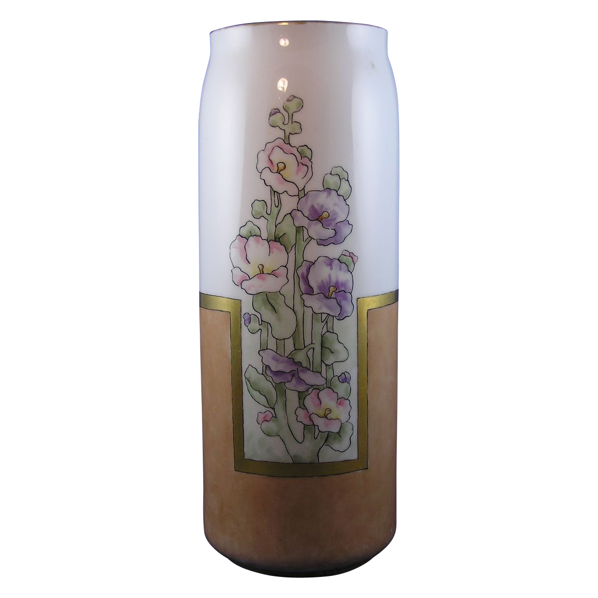 Moritz Zdekauer (MZ) Austria Arts & Crafts Hollyhock Motif Vase (Signed/c.1884-1909)