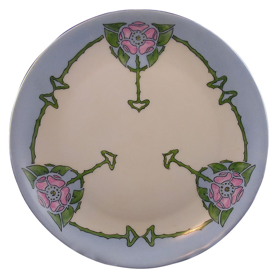 "Hutschenreuther Selb Bavaria Arts & Crafts Floral Motif Plate (Signed ""E. Eiler""/c.1920-1945) - Keramic Studio Design"