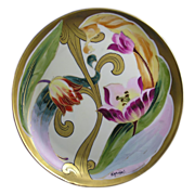 "Gerard, Duffraisseix & Abbott (GDA) Limoges Stouffer Studios Tulip Motif Plate (Signed ""Michel"" for Harry E. Michel/c.1906-1914)"