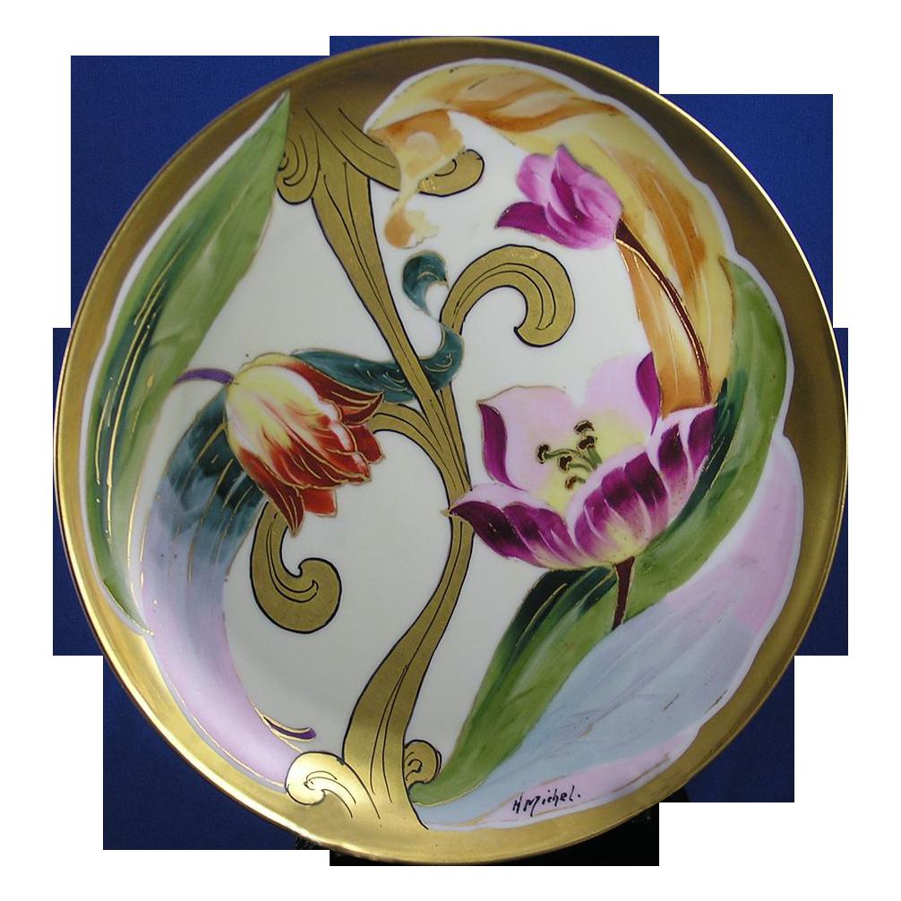 "Gerard, Duffraisseix & Abbott (GDA) Limoges Stouffer Studios Tulip Motif Plate (Signed ""Michel"" for Harry E. Michel/c.1906-1914)"