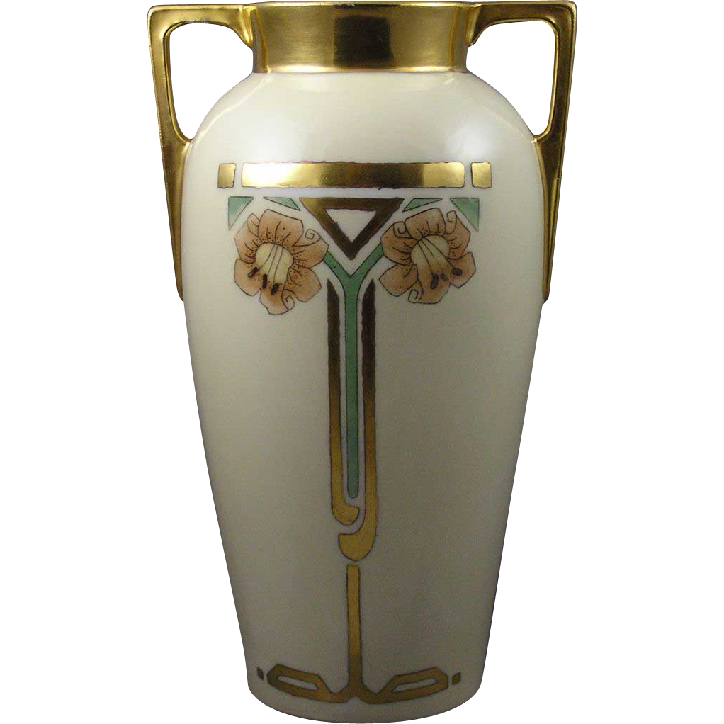 "C. Tielsch (CT) Altwasser Silesia Art Deco Lily Motif Vase (Signed ""M. Huber""/Dated 1926)"