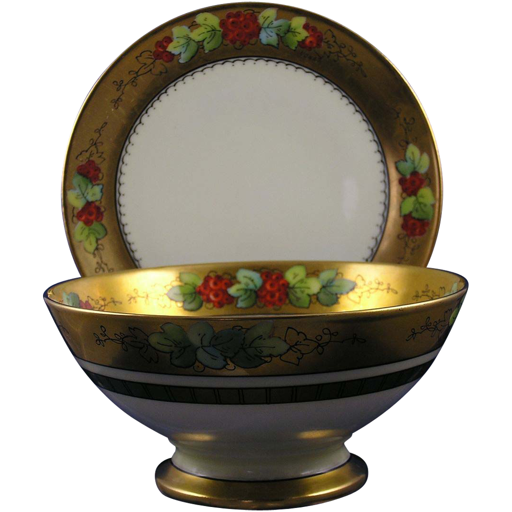 "Coiffe Limoges & Thomas Bavaria Donath Studios Currant Motif Bowl & Under Plate Set (Signed ""Donath""/c.1906-1928)"