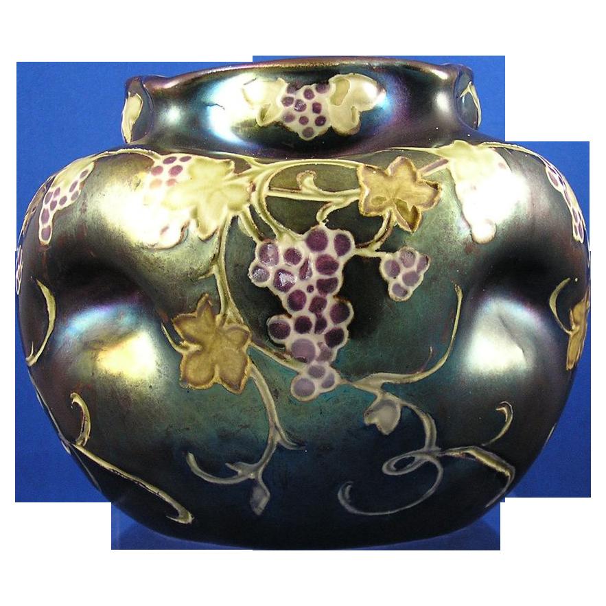 Heliosine Ware Austria Grape Motif Vase (c.1900-1915)