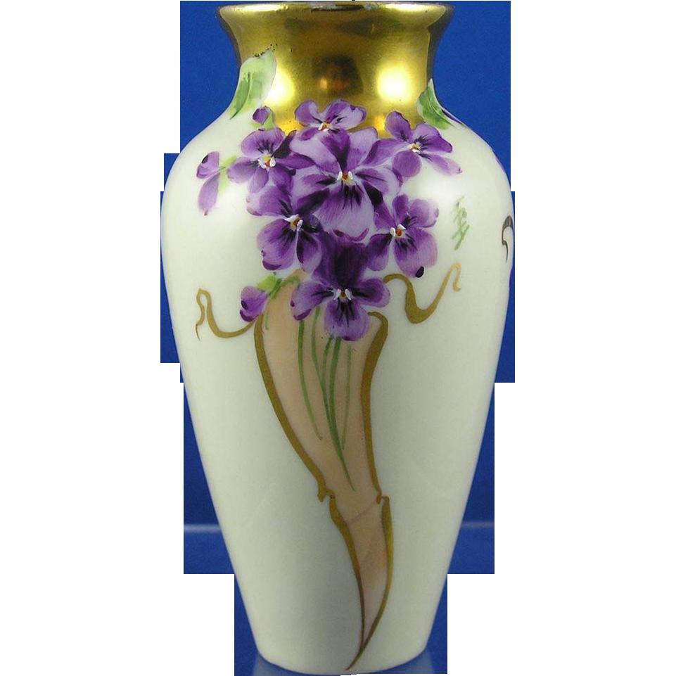 Julius Brauer Studios Violet Motif Vase (Signed/c.1905-1910)