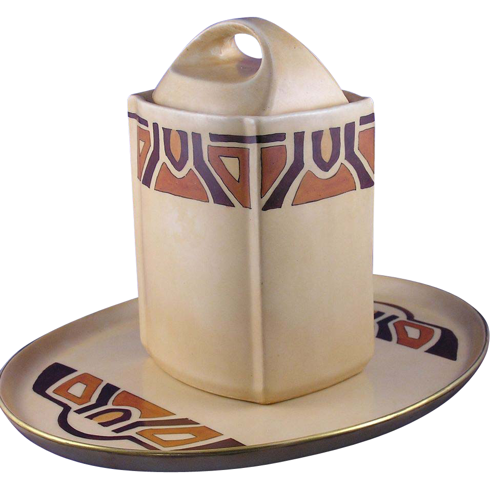 """T&V Limoges Art Deco or Mission Style Canister/Tea Caddy & Tray Set (Signed """"Nazareth, KY""""/c.1892-1907)"""