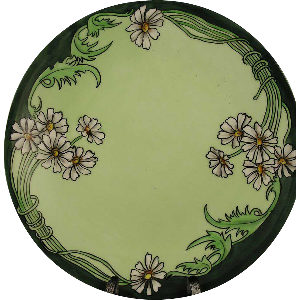Delinieres & Co. (D&Co.) Limoges Arts & Crafts Daisy Motif Plate (Signed/c.1901-1930) - Keramic Studio Design