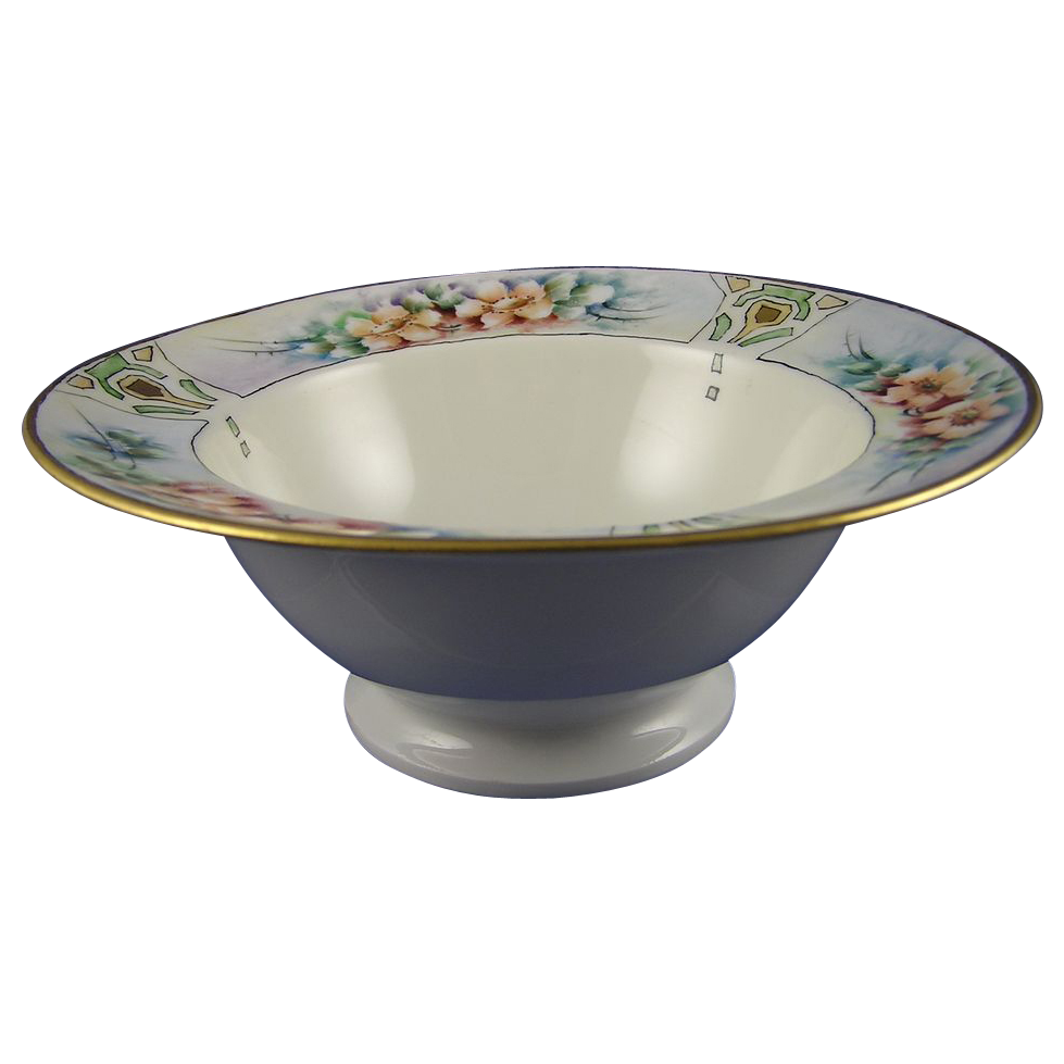Jean Pouyat (JP) Limoges Arts & Crafts Floral Motif Bowl (c.1890-1932)