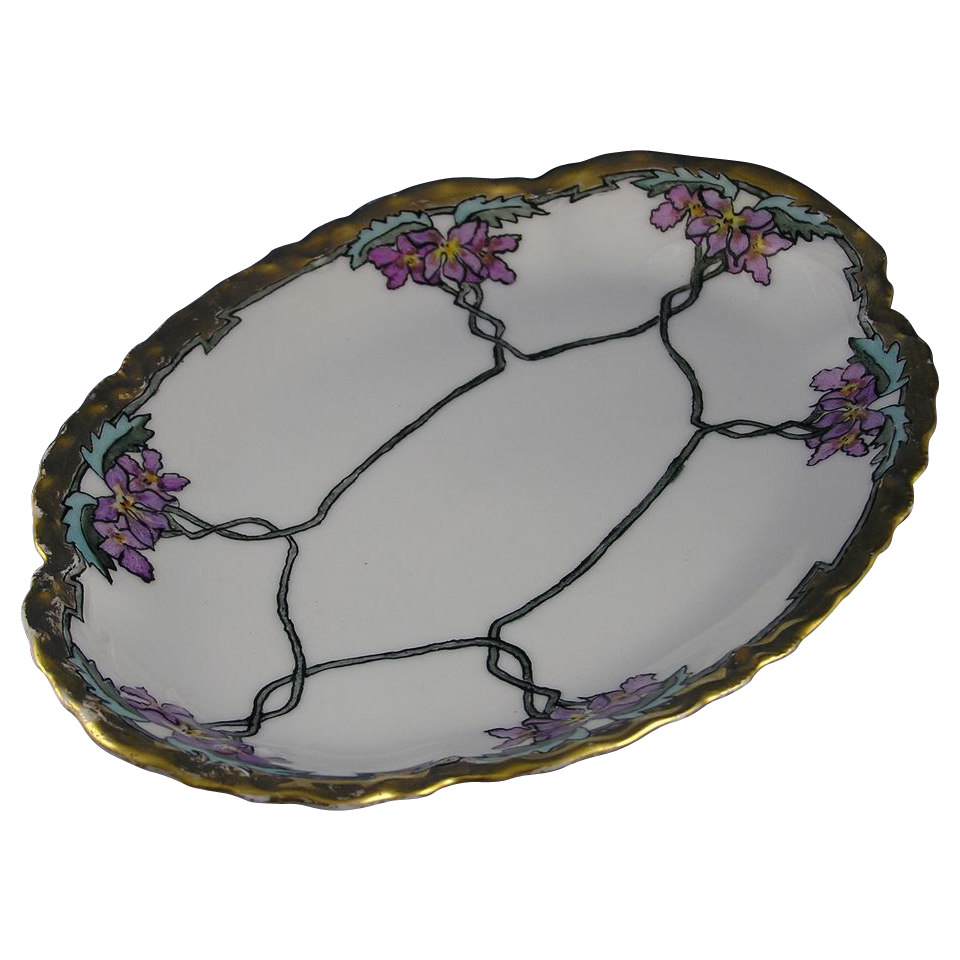 "Haviland Limoges Arts & Crafts Violet Motif Tray (Signed ""J.E.H.""/c.1894-1931)"