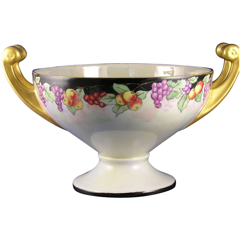 "Hutschenreuther Selb Bavaria Fruit Motif Handled Centerpiece Bowl (Signed ""M. Price""/Dated 1930)"