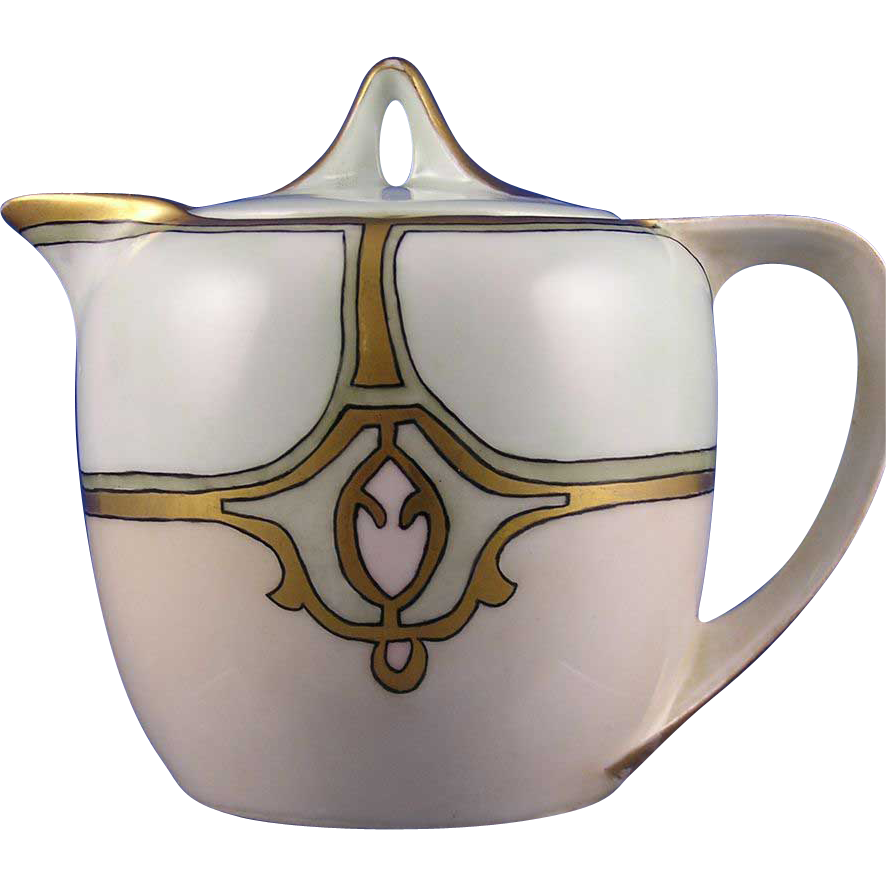 "Reinhold Schlegelmilch (RS) Germany Arts & Crafts Syrup Pitcher (Signed ""M.A.S.""/c.1904-1938)"