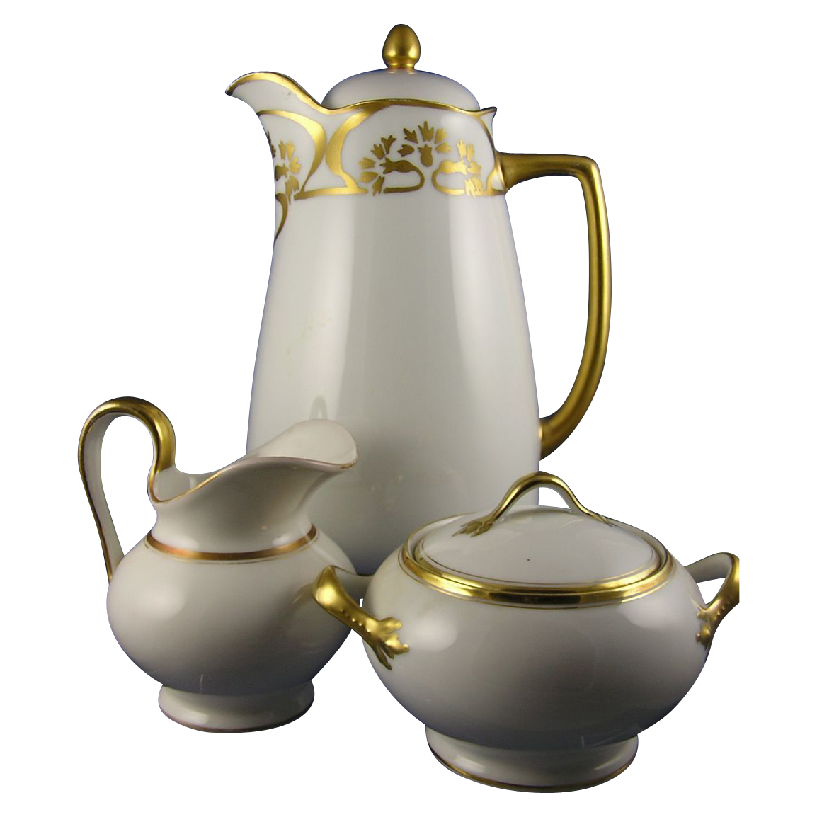 Herrmann Ohme Silesia Art Deco Gold & White Coffee/Chocolate Pot & Limoges Creamer & Sugar Set (Dated 1914)