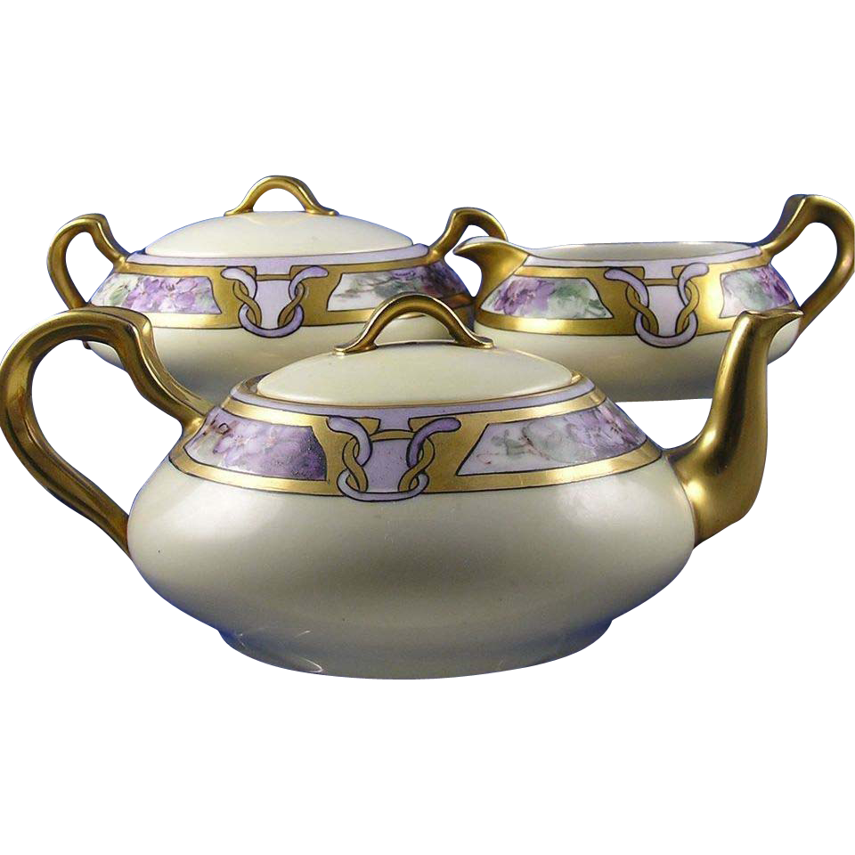 "Haviland Limoges Arts & Crafts Violet Motif Tea Set - Teapot, Creamer & Sugar (Signed ""Edna S. Arthur San Francisco""/Dated 1920)"