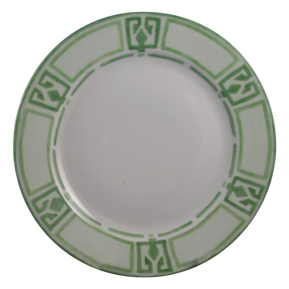 "Hutschenreuther Bavaria Arts & Crafts Green Geometric Plate (Signed ""M.E.J.""/c.1897-1910)"