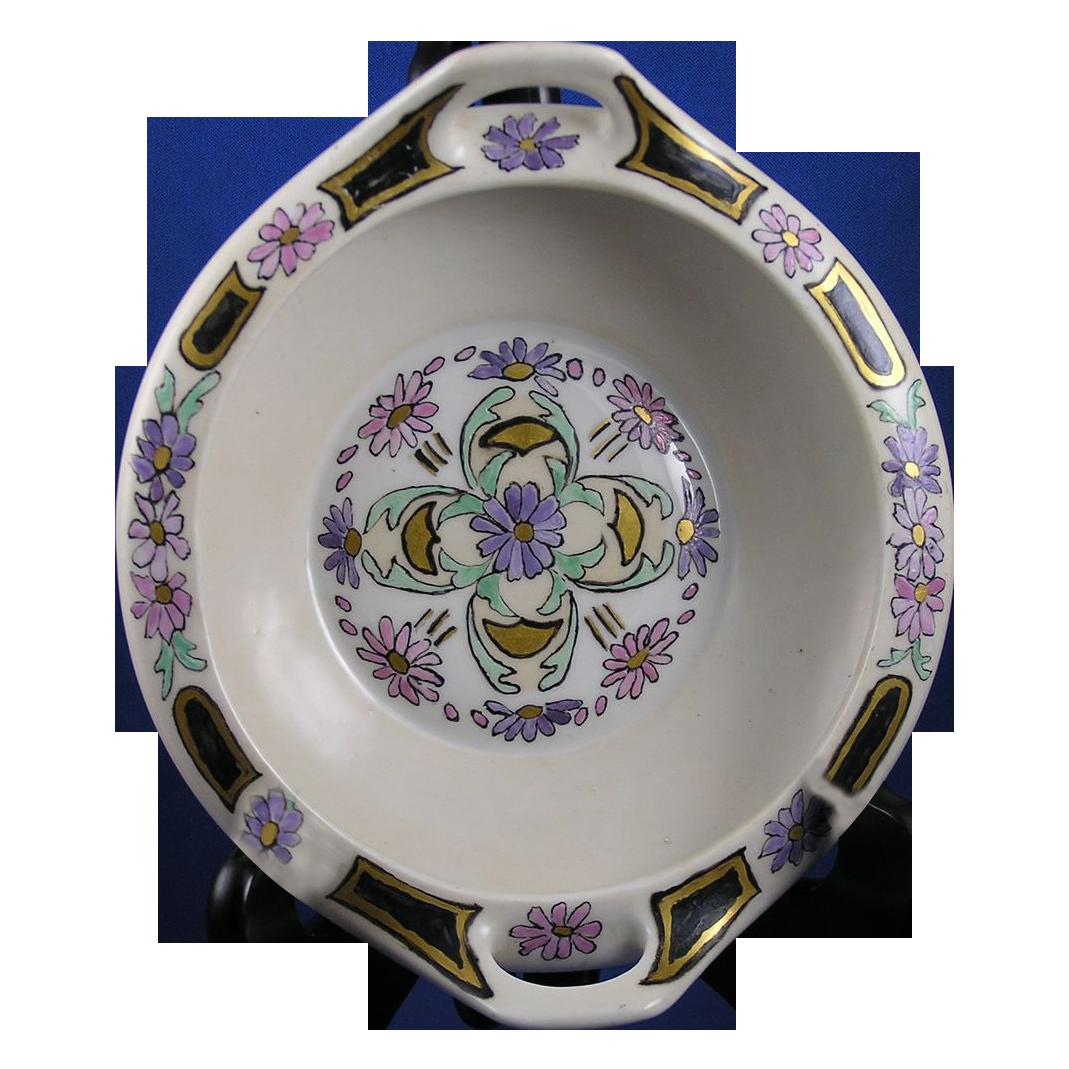 "Moritz Zdekauer (MZ) Austria Arts & Crafts Floral Motif Handled Dish (Signed ""A.L.T""/c.1884-1909)"