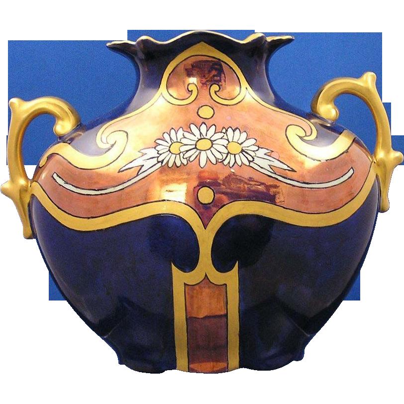 PH Leonard Austria Art Deco Copper Lustre Daisy Motif Vase (c.1890-1908)