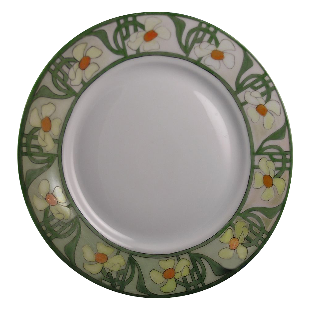 "Hutchenreuther Bavaria Arts & Crafts Daisy/Cowslip Motif Plate (Signed ""E. Samuel""/c.1897-1910)"