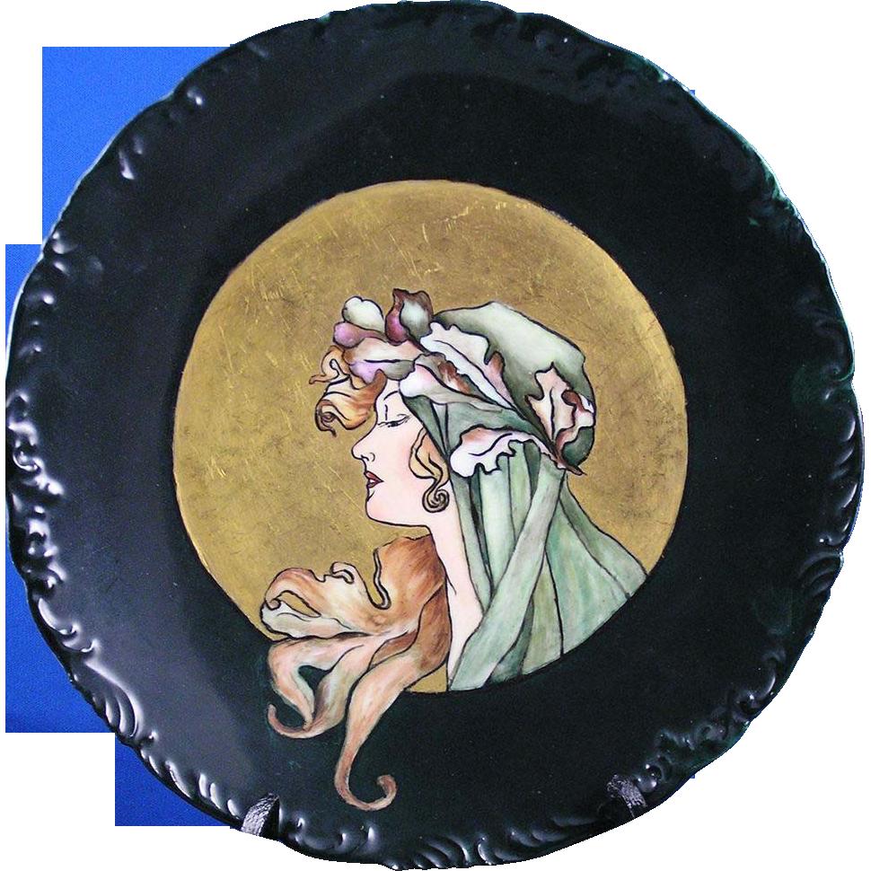 """Tressemon & Vogt (T&V) Limoges """"Privat Livemont  Autumn Woman""""  Motif Plate (c.1892-1907) - Keramic Studio Design"""